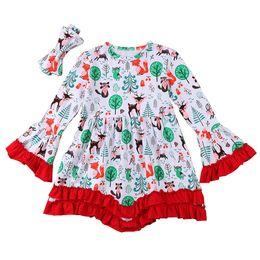 Pagoda sleeves dress online shopping - Girls Christmas Dress T Floral Printed Deer Santa Claus Notre Dame New Year Gift Dresses Long Sleeve Pagoda Sleeve Headband