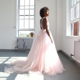 Wholesale shot prom dresses resale online - Pink Tulle Long Prom Dresses Gorgeous V Neck Sleeveless Backless Ball Gown Party Dresses Photo Shot Dresses Sweep Train