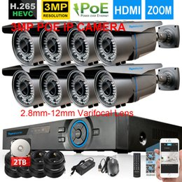 Discount nvr kit recorder 48V H.265 8CH POE NVR System 4MP NVR Recorder With 8pcs 3MP 2.8mm-12mm zoom POE IP security Camera 8CH Video Surveillanc