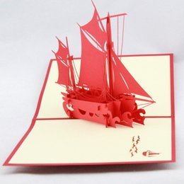 Postcard greeting cards online shopping - Creative Qubiclife Handmade Greeting Cards Stereo Smooth Sailing D Pop Up Card For Travel Postcard Hot Sale qy BB