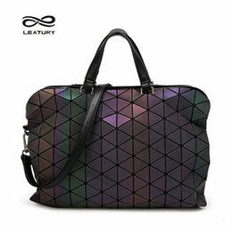 $enCountryForm.capitalKeyWord Canada - Leatury Brand Noctilucent Women Briefcase Bag 2016 Fashion handbag Designer Geometric Plaid Shoulder&Cross body bag Lattice