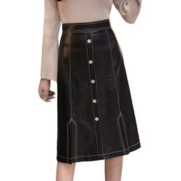 419a2f753f961 2018 Autumn Winter Faux Leather Midi Skirts Womens High Waist Button Back  Split PU Leather Skirts Plus Size jupe femme saias