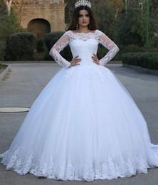 islamic wedding gowns dubai 2019 - Arabic Islamic Dubai Long Sleeves Wedding Dresses 2018 Ball Gown Appliques Scoop Neckline Floor Length Bridal Wedding Go