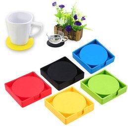 Coaster set holder online shopping - Silicone Placemat Coasters Cushion Anti slip Mug Cup Mat Holder Pad Set Kitchen Mat Round Table Placemat Colors OOA5181
