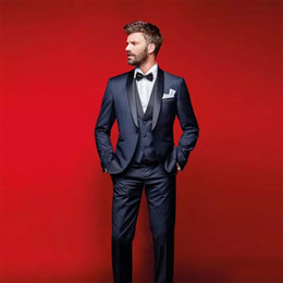 navy blue tuxedos for cheap Australia - Classy Navy Blue Wedding Suits Classic Fit Tucedos For Groomsmen Three Pieces Cheap Prom Formal Clothing Set (Jacket +Pants+Vest+Bow Tie)