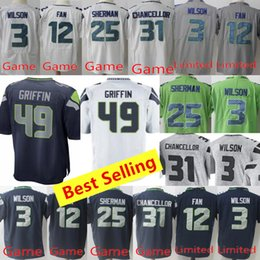 5d16c941f Mens Seattle Seahawks jerseys 3 Russell Wilson jersey 49 Shaquem Griffin  jersey 22 Doug Martin 20 Rashaad Penny all stitched jerseys