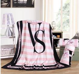 Best Chrismas Gifts Australia - 2019 New design Rectangle stripe Pink Flannel Blanket Adjust To Adult Child use Sofa travel Blanket best chrismas gift.