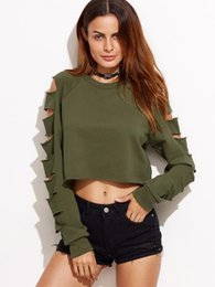 wholesale army clothes 2019 - Clearance sale hoodies Sexy women fashion Clothing Cropped Sweats Pullover tumblr quality street style Hole outfit goth