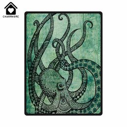 Fleece Custom Canada - CHARMHOME Custom Hot Sale Fashion Fleece Blanket Dark Green Octopus Comfort Throw Blanket Sofa Bed Kid Adult Warm
