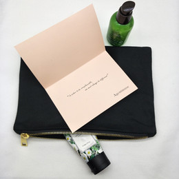 Color Diy Painting Australia - blank black color pure cotton canvas make up bag with matching color lining top quality gold zip bag blank cotton pouch for DIY print paint