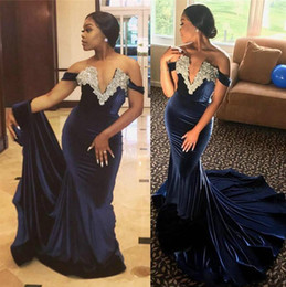 $enCountryForm.capitalKeyWord NZ - New Style Navy Blue Beaded Neck Plugging Mermaid Long Evening Dresses Off The Shoulder Sexy Prom Gown Fishtail Train Formal Party Black Girl