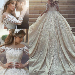Bride corsets online shopping - Luxury Saudi Arabia Dubai Wedding Dresses Lace Illusion Corset Long Sleeve Bride Country Style Vestido de novia Formal Bridal Gown