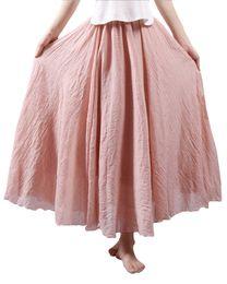 87c4fa82f0ff3f 2017 Autumn Fashion Women Long Skirt Solid Color Pleated Skirt Elastic  Waist Elegant Saia Longa Maxi A-Line Bohemia Retro Skirt