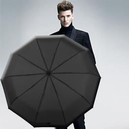 Полностью автоматическая ручка 3Folding Мужская коммерческая компактная большая прочная рама Наружная ветрозащитная 10Ribs Нежные роскошные зонтичные женщины