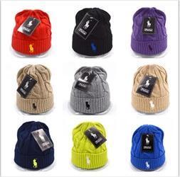 010714aea846a 2018 Fashion Unisex Spring Winter Hats for Men women Knitted Beanie Wool  Hat Man Knit Bonnet Polo Beanie Gorros touca Thicken Warm Cap