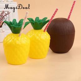 $enCountryForm.capitalKeyWord Australia - High QualityMagideal 24pcs  Lot Pineapple Coconut Drink Cup Straw Tropical Hawaiian Luau Beach Party Decoration