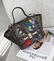 Petal bag online shopping - 2018 new retro hit color petal stripes willow nail chain handbag