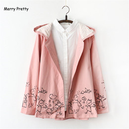 Cute Pink Jackets Canada - Wholesale-Merry Pretty Autumn Winter New Women Pink Jacket Japanese style Cartoon Print Long Sleeve Hooded Casual Cute Girl Outerwear Coat