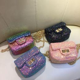 Korea style handbags online shopping - New Korea Style Purses Fashion Handbag Kids Children Princess Party Crossbody Bag With Sequin PU Leather Metal Chain For Baby Girls
