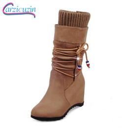 e40e01b40878 Female Round Toe Wedge Half Short Boots Women New Design Cross Strap  Botines Mujer Woman High Heel Shoes Footwear Size 32-43
