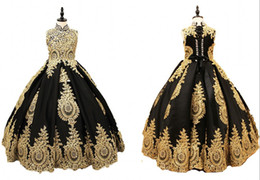 Chinese  Sexy Black And Gold Lace Flower Girls Dress 2019 High neck With Corset Back Crystal Ball Gown Designer First Communion Pageant Dresses manufacturers