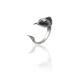 010e31b74180 Punk Vintage Silver Titanium Steel Rings For Women Gothic Carp Fish Ring  Hip Hop Biker Animal Jewelry Xmas Gifts Anillos Mujer