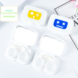 Coloured Storage Boxes NZ - New Mini Contact lens storage box suit Beautiful colour contact lenses Nursing box Cartoon pictures With mirror etc Small size easy to carry