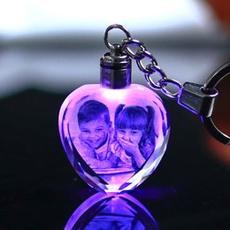 Crystals Souvenir Australia - Colorful Crystal Key Chain Photo LED Light Keychain Fashion Luminated Keyring Heart Shaped Glass Picture DIY Baby Souvenir Gift