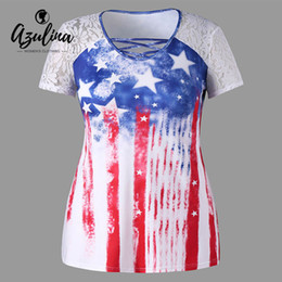Wholesale AZULINA Plus Size American Flag Print Lace Insert T Shirt Women Tops Casual O Neck Short Sleeve T Shirts Ladies T Shirt Big Size