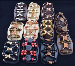 Hair barrettes beads online shopping - Women Wooden Beads Hair Clips Mixed Different Styles Wood Magic Fashion Double Row Hot Accessories Hair Comb AAA28