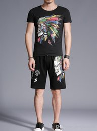 China Summer fashion brand 2 pieces tracksuit slim skull design printing male suit 1192 personality suppliers