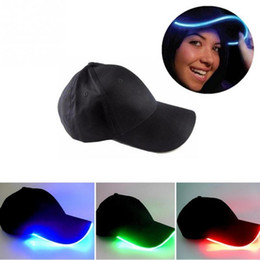 Wholesale 32 Colors LED Lighted Up Baseball Cap Glow Club Baseball Hip Hop Golf Dance Hat Optical Fiber Luminous Caps Adjustable DDA734 Party Hats
