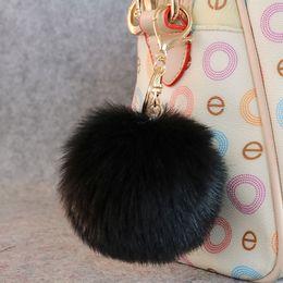 $enCountryForm.capitalKeyWord NZ - simple cut 100Pcs keychain black pink rabbit fur ball pendant keychain for bags