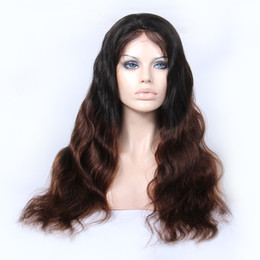 Human Hair Wig Beautiful UK - Attracive glueless unprocessed beautiful raw virgin remy human hair long ombre color body wave full lace cap wig for girl