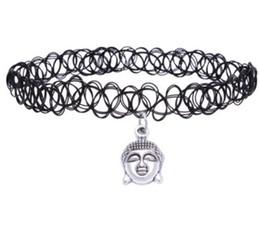 horseshoe crosses 2019 - Retro Hippy Elasticity Henna Tibetan Silver Buddha Head Cross Stars Sun Hand Horseshoe India Charm Tattoo Choker Necklac