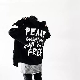 peace printing 2019 - 2018 brand Autumn Men Women Men Hip Hop leisure printing jacket Fashion Headwear Sweatshirts Peace Hoodie Black White co