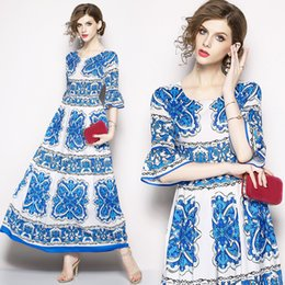 blue white print dress Canada - Formal Dresses for Women with White Blue Floral Print Flare Sleeve Big Swing Elegant Lady Maxi Long Dress