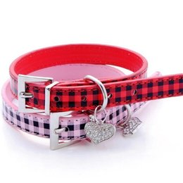 Discount black rhinestone dog collar - Square Grid Cat Collar PU Rhinestone Crystal Love Heart Peach Pendant Dog Collars Pure Color Pet Supplies 5 8en4 bb