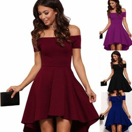Wholesale Women S XL vintage Summer Elegant Party Burgundy Slash Neck Off Shoulder Skater Dress Formal Holiday Casual Evening Party Dress Pluse Size