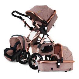 Baby Stroller 3 in 1 High Landscape Pram foldable pushchair infant bassinet Car Seat Babies sleeping basket Can sit and lie on Sale