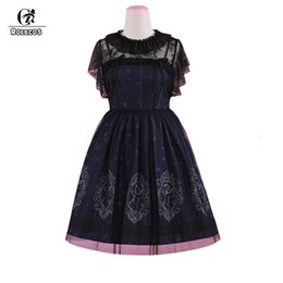 angels costume woman 2019 - ROLECOS Vintage Starry Night Angel Printing Dress Sets For Women Classical Sleeveless Strap Dress And Smock Lolita Sets