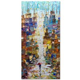 hand painted romantic canvases UK - Handmade Modern Abstract Painting Romantic Street Oil Hand Painting Landscape Hand-Painted On Canvas Abstract Artwork Art