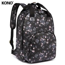 KONO Women Designer Backpacks School Bag for Teenagers Girls Vintage Flower  Mae Oilcloth Daypack Laptop Padded Rucksack LG1658 1f01105c46