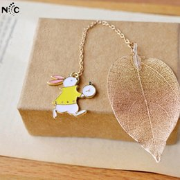 Wholesale Bookmark Chains Australia - 2 Colors Girl & Lovely Animal Chain Bookmark for Books Kawayii Leaf Bookmark Gift Package Korean Stationery Beast Present Gift