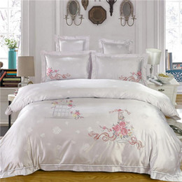 embroidered bedding designs 2019 - White Pink Red Tencel Embroidery Cotton+Silk Bedding Set Luxury Satin Duvet Cover King Queen Bedclothes Bed Linen 16 Des