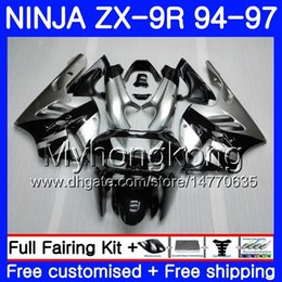 Zx9r 94 Fairing Kits Australia - Body Silvery black hot For KAWASAKI NINJA ZX900 ZX 9R 1994 1995 1996 1997 221HM.37 ZX 9 R 900 900CC ZX-9R 94 97 ZX9R 94 95 96 97 Fairing kit