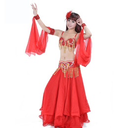 80272c7cc8cf Fashion Women Dancer Sexy Beaded Belly Dance Bra Top Sequined Fringe Belt  Chiffon Skirt Dancing Costume