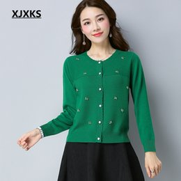 356a873eb9 women beautiful breasts 2019 - XJXKS New 2018 Spring Vintage Knitted  Cardigans Women Sweater Casual Long