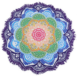 Wholesale Lotus Mandala beach yoga mat Hanging Blanket printed Rug Tapestry Tassel Beach Throw Hippie Boho Swiming Beach Towel FFA198 7COLORS 100PCS