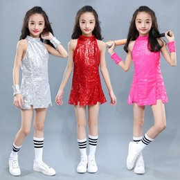 e3771e8e71b Kids Hip Hop Dance Costume Girls Jazz Costumes Street Dance Clothing  Cheerleading Sequin Outfit Vest Shorts Stage Dress DN1884
